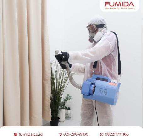 Gambar 3 - Cara penyemprotan desinfektan yang sesuai dosis dan efisien